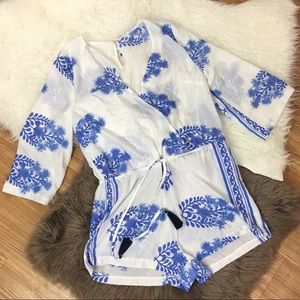 Other - Romper size medium white floral